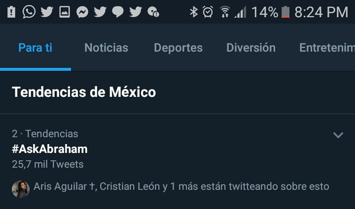 Mi amor, ya viste que son 25.7 mil Tweets con tu #AskAbraham? México te ama, México te amaaaa.... siempre presente🌎💜