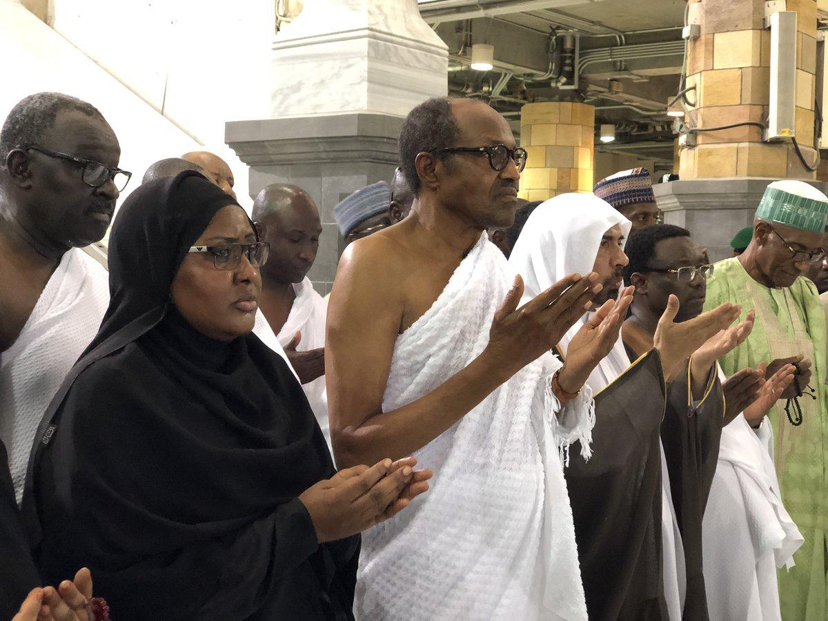 D6zeK81XkAA3EDi - (Photos) Buhari performs Umrah at the Masjid Haram (the Grand Mosque) in Makkah