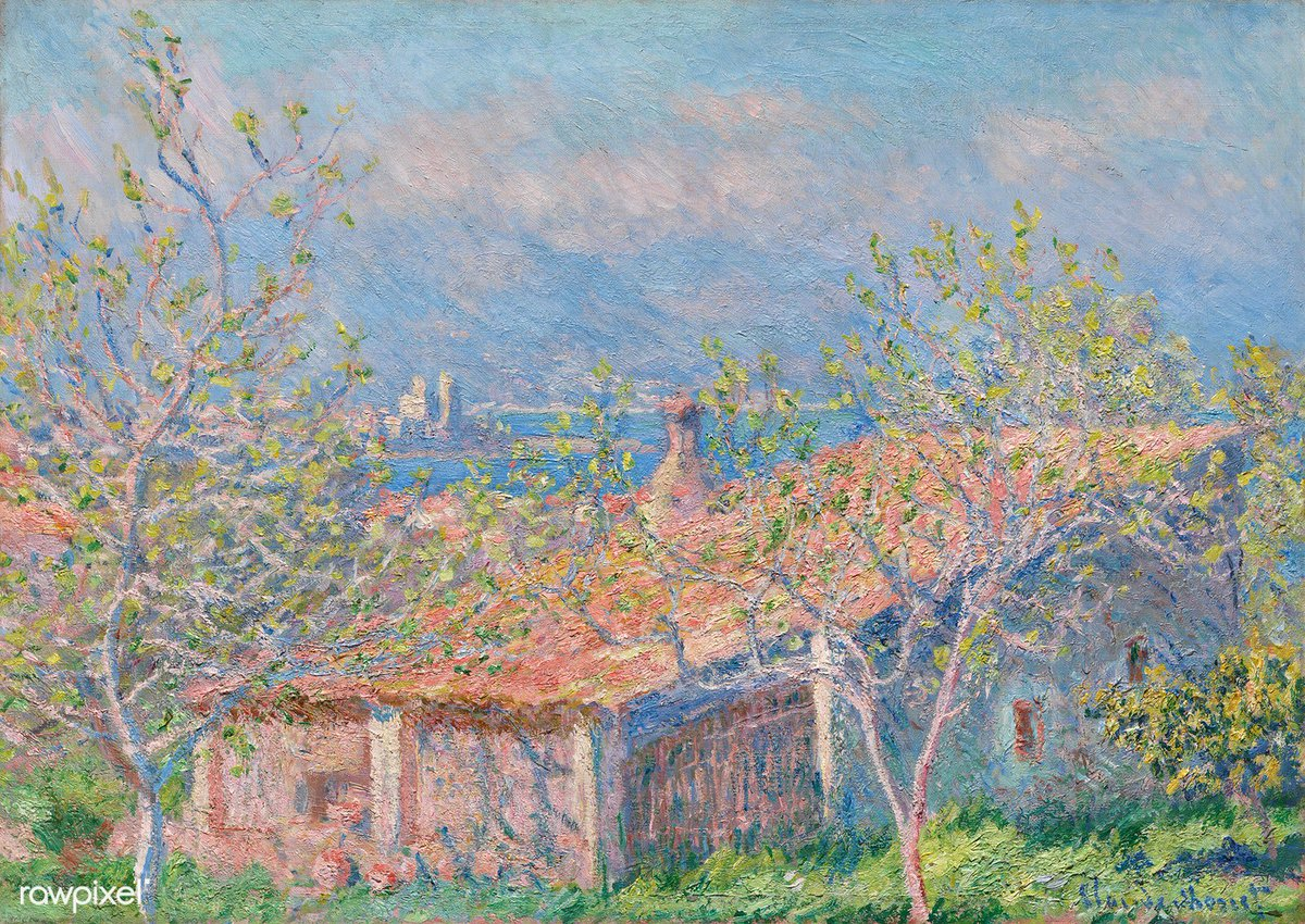 Gardener's House at Antibes (1888) by Claude Monet. Original from The Cleveland Museum of Art. Digitally enhanced by rawpixel. Download this image: http://rawpixel.com/board/547231/claude-monet…