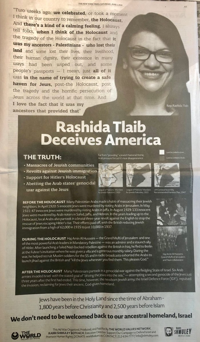 This is a dishonest & dangerous assault on ⁦@RashidaTlaib⁩ by far-right Shmuley Boteach. He funnels dark money into attack ads like this that distort the truth & put people's lives at risk. It's not an ad, it's incitement. Shame on @nytimes for running it. #handsoffRashida.
