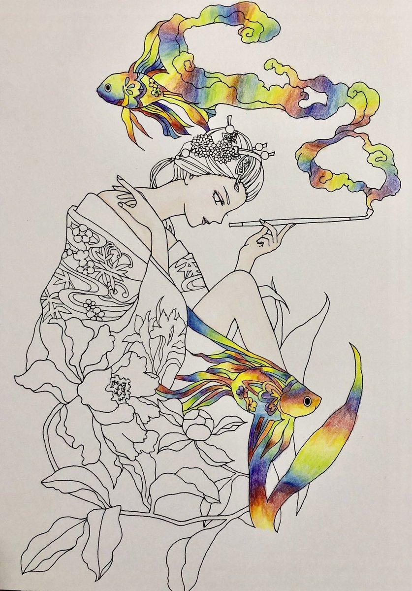 test ツイッターメディア - #ダイソー の #虹色鉛筆 が見つかったので遠慮なく使えることが分かりました。って事でかなり前に買った塗り絵本 #コアマルージュ の金魚のおねーさんを塗り始めました。色白なおねーさんを生かしながら虹色が映えそうな塗り方にしてみます。 #大人の塗り絵 https://t.co/c3i1t8sR7J