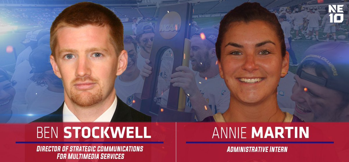Welcome, Ben and Annie!  NE10 announces the hiring of Ben Stockwell and Annie Martin - a pair of individuals with league roots - to the conference office.   RELEASE 👉 https://bit.ly/2WwgdCw   #NE10EMBRACE