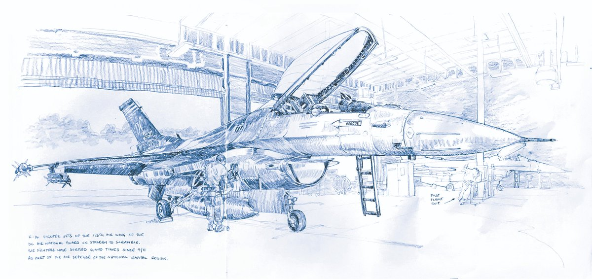 Spent a lovely morning drawing with the @dcang113th Alert Squadron at @Andrews_JBA as part of my ongoing and increasingly poorly timed @NORADCommand anniversary sketch tour. 6,400 sorties since 9/11. @urbansketchers @PleinAirMag @MarineMuseum I am a bit rusty. @AirNatlGuard #draw