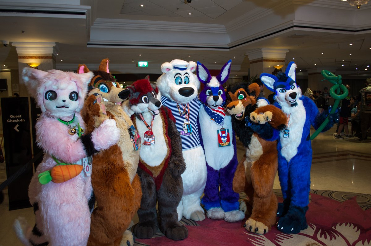 Day 5 pic from @cfconvention 2019   Featuring @Niki_Yanagi, @JoeyPawMemories, @shadow_raccoon , @TruckTheBear, @TheadoreRabbit, @Drachetto   Pic taken by me : @toralioger   #fursuit #fursuiting #furryconvention <br>http://pic.twitter.com/YEXFAUeEzD