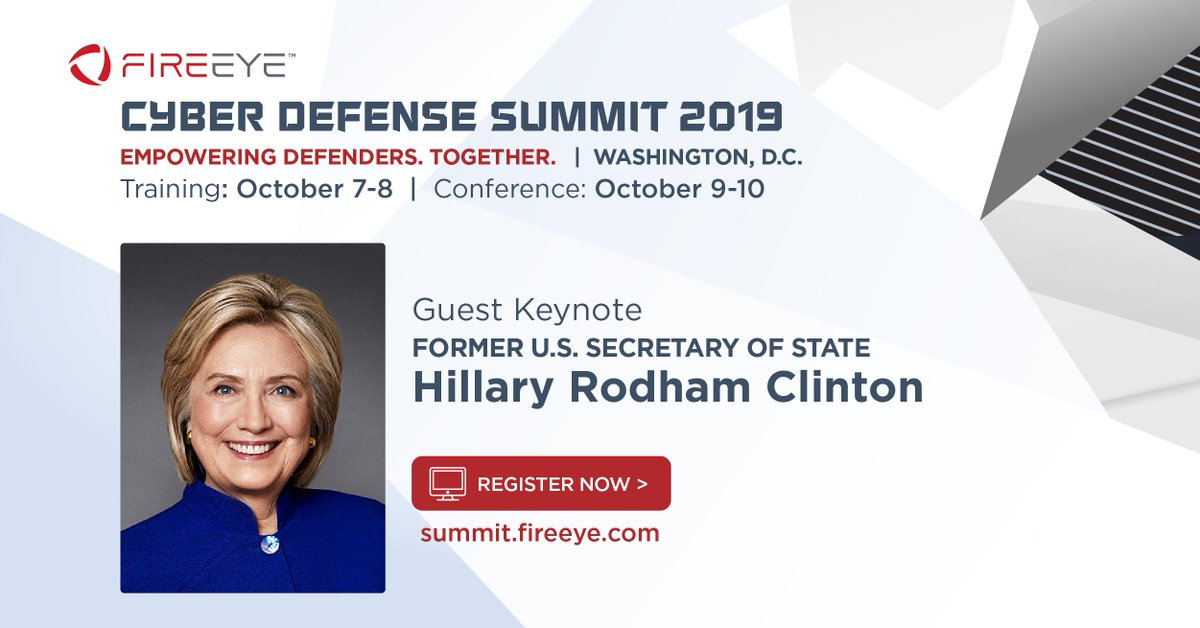 We are pleased to announce that Former U.S. Secretary of State Hillary Rodham Clinton will be a featured keynote at our #FireEyeSummit in October! Secretary Clinton will engage in an intimate Q&A keynote discussion with Kevin Mandia.   >> Learn more at http://summit.fireeye.com