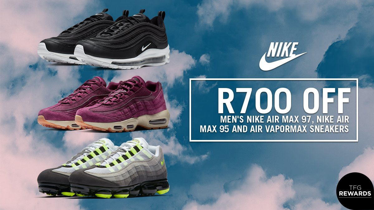 b25f65c406 Cop selected @nikesportswear Men's Air Max 95, 97 and Vapormax sneakers and  take R700 off! Offer available at sportscene from 17-31 May: ...