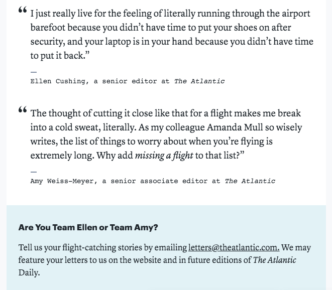 According to @amandamull, there are two types of flight-catchers, and according to The Atlantic Daily newsletter, I am an avatar of Type A (getting there early). Vote for Team Me or Team @elcush by emailing letters@theatlantic.com ! https://www.theatlantic.com/health/archive/2019/05/psychological-reason-people-are-late-airport/590500/…