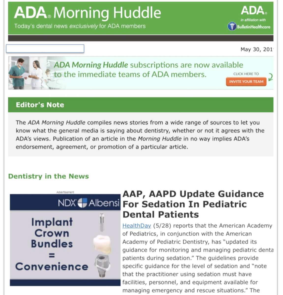 Media Tweets by American Society of Dentist Anesthesiologists