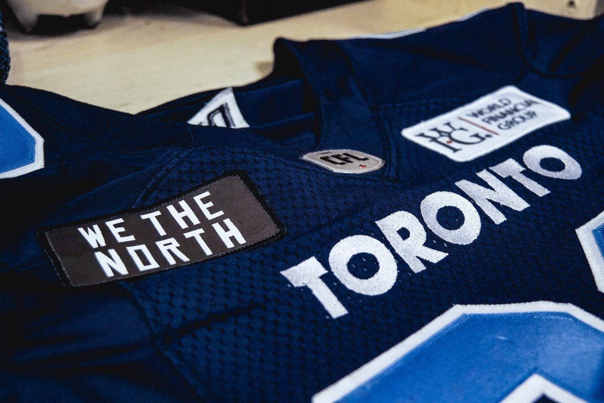 ba724579800 The @TorontoArgos showing their support for the @Raptors with the We The  North patches. #uniswagpic.twitter.com/2xdbtEunnh