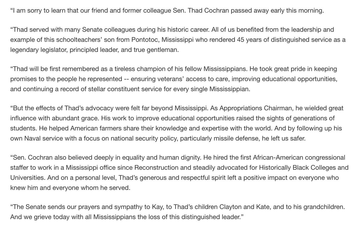 My statement regarding the passing of my friend and former colleague, Senator Thad Cochran.