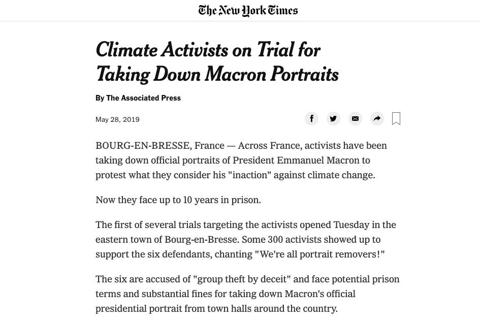 """Across France, activists have been taking down official portraits of President Emmanuel Macron to protest what they consider his ""inaction"" against climate change. Now they face up to 10 years in prison.""  #DécrochonsMacron dans le New York Times <br>http://pic.twitter.com/bPV3mfXTSx"