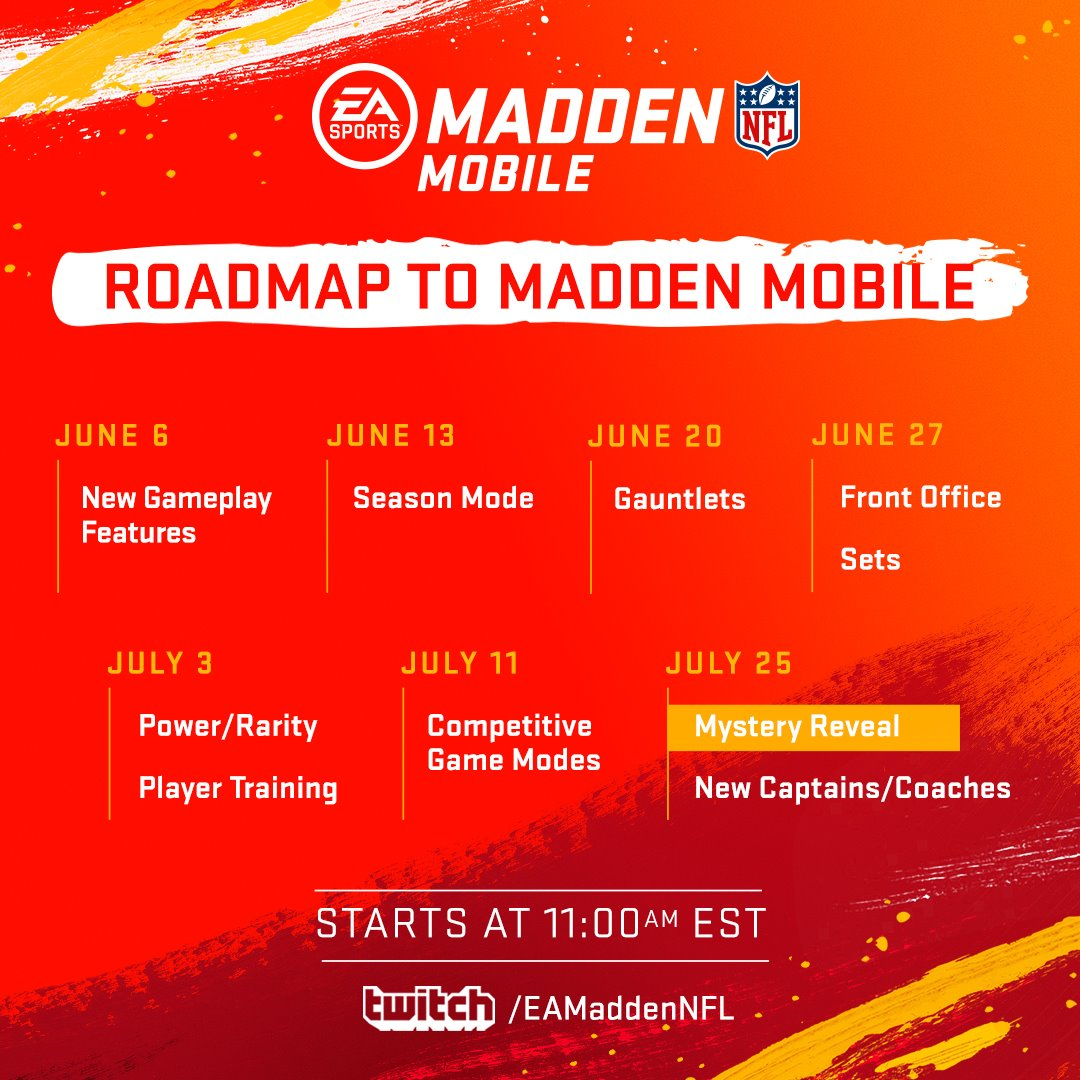 0d2be450bcd The new season of Madden NFL Mobile launches July 30th! Make sure to catch  our upcoming live streams for an exclusive look at what's ...