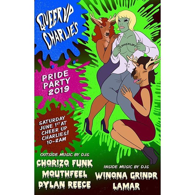 This Saturday at @cheerupcharlies, I'm excited to help kick off Pride Month for Queer Up Charlie's Pride edition! I'm joining @mouthfeel & @dylzpillz on the outside stage w/music til 2am #BienLit pic.twitter.com/AFFWBgNrLc