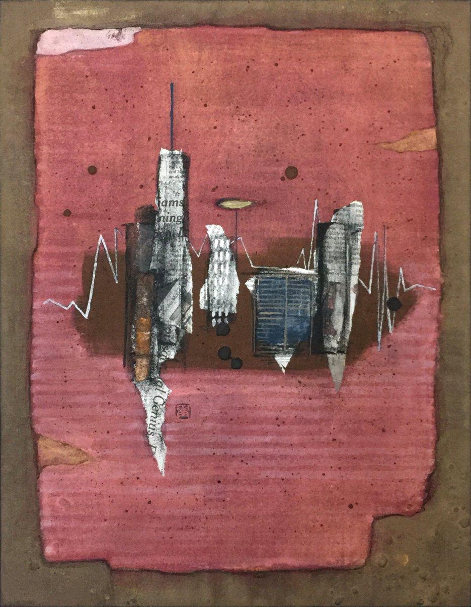Work:作品「レンガの街/ Brick City」410×318mm #art #artist #painting #modernart #mixedmedia 個人所蔵/Private collection https://t.co/JXqoutKerZ