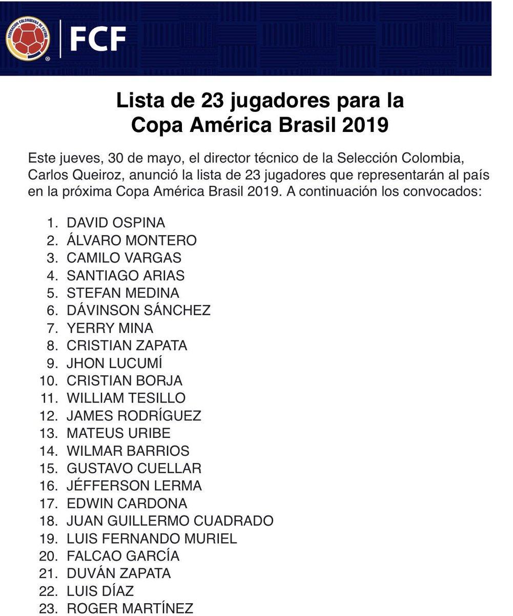 Ellos son los 23 escogidos #VamosColombia #CopaAmérica2019