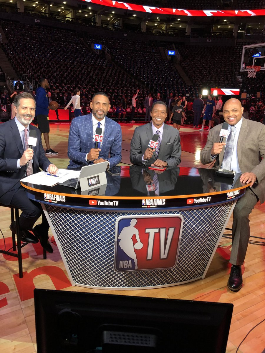 Join us @NBATV #NBAFinals @realgranthill33 #CharlesBarkley @MattWinerTV pre and post game 1 @Raptors vs @warriors