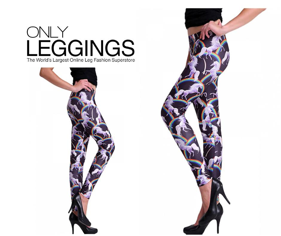 e944d319551d7f Celebrate with a pair of new unicorn leggings! Our trendy rainbow Prancing  Unicorn Leggings are a whimsical addition to any wardrobe!
