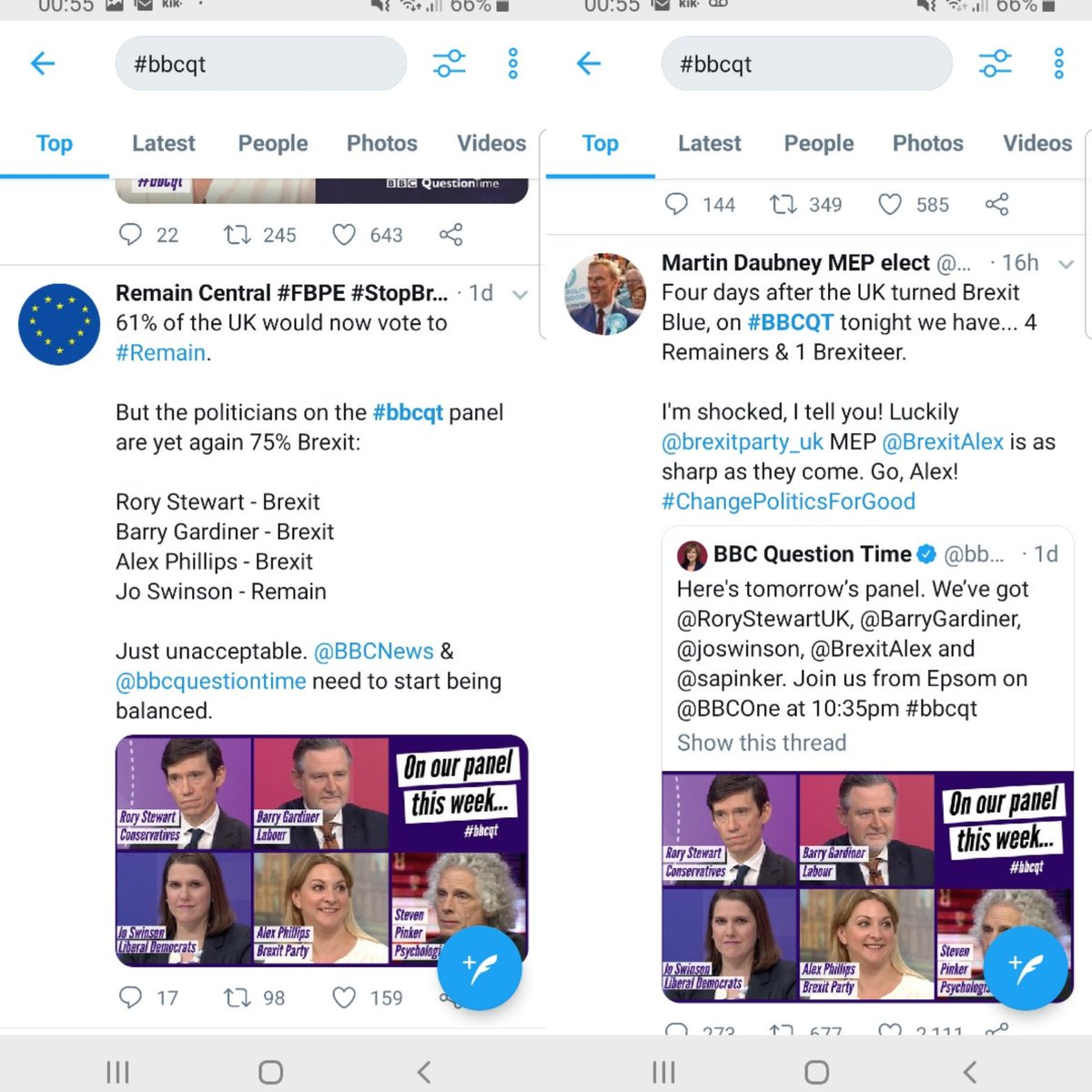 #bbcqt the idiocy of the current state of affairs is perfectly summed up in these two tweets. Both were apparently watching the same programme but you wouldn't think it!!!  Too Brexit, not enough Brexit, biased media swinging more than an overpaid executive's desk toy!! 🤷🏼‍♀️🙅🏼‍♀️🤦🏼‍♀️