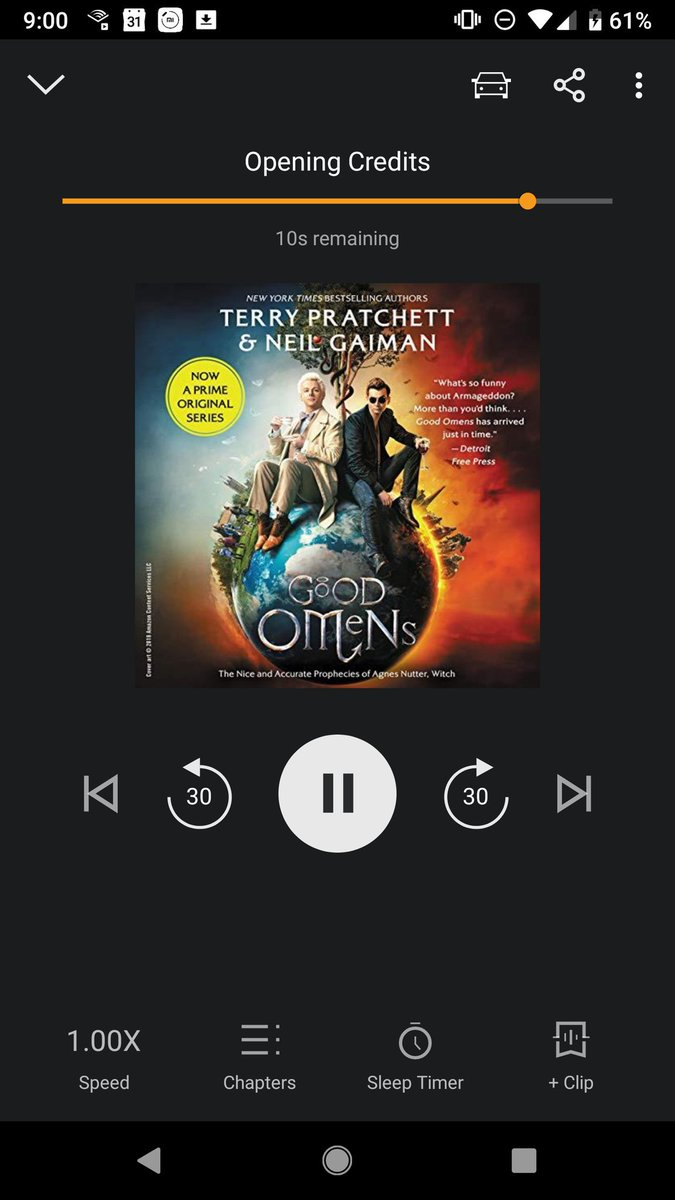 Decided to re listen to the book before I watch the show. One of my favorite @neilhimself books. So excited to see the show! #GoodOmens #DavidTennant #ADiscoveryofWitches #goodandevil