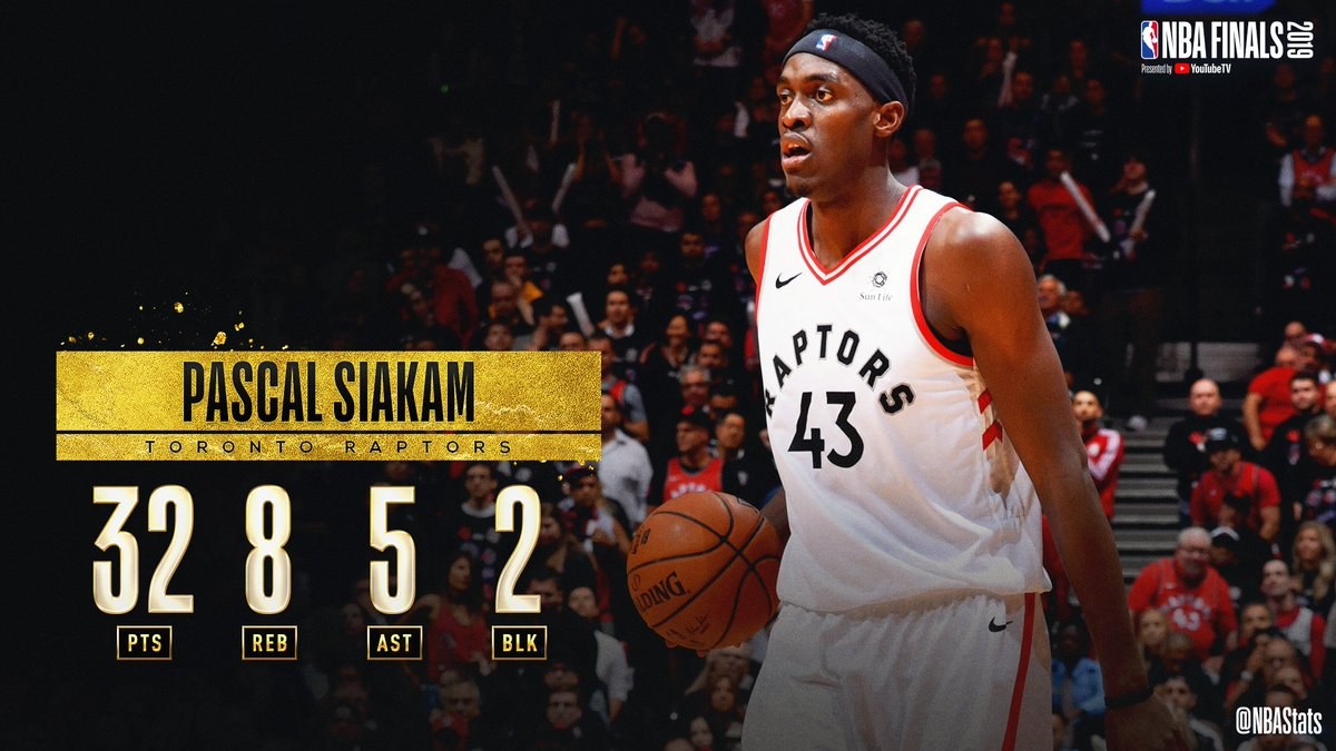 Pascal Siakam guides the @Raptors to victory in Game 1 of the #NBAFinals with 32 PTS (14-17 FGM), 8 REB, 5 AST! #SAPStatLineOfTheNight <br>http://pic.twitter.com/2x3RLuaNz7