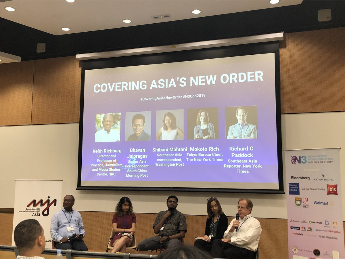 "#coveringasiasneworder at #n3con2019 today with @keithrichburg @jbhavan @ShibaniMahtani @nytimes @RCPaddock @motokorich @n3conference ""Where in Asia can democracy thrive?"