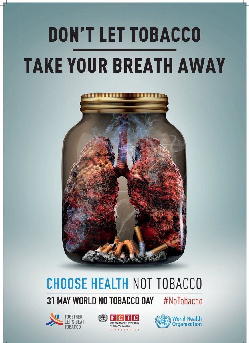 Today is the WHO's, World No Tobacco Day,highlighting the critical importance the lungs play in overall health and wellbeing and the negative effects tobacco,in all its forms have on this. #NoTobacco #WorldNoTobaccoDay