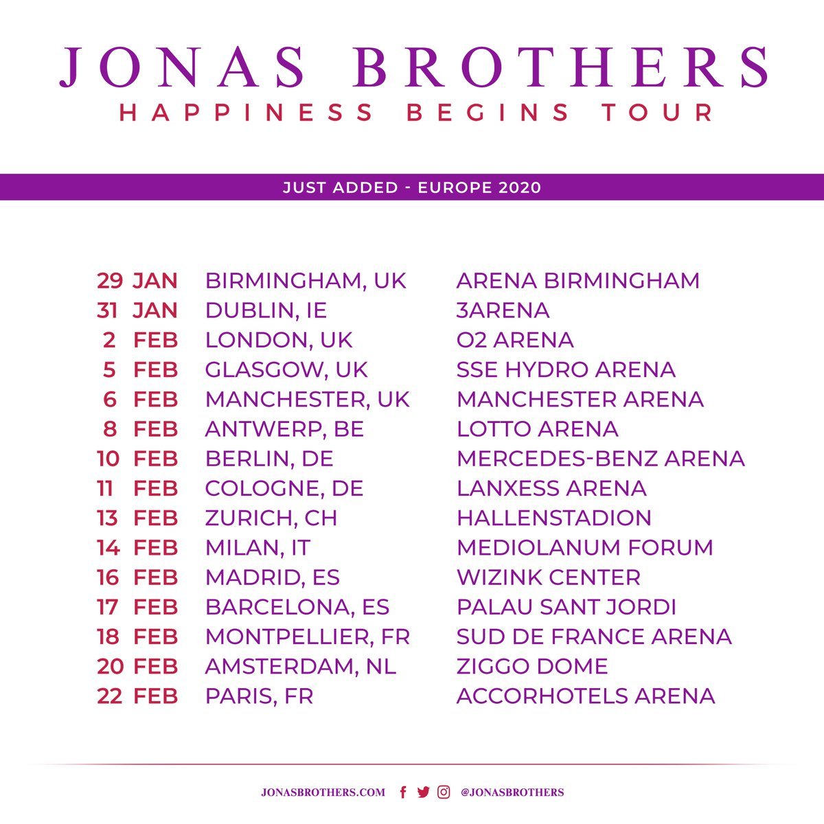 Pink 2020 Tour Jonas Brothers on Twitter: