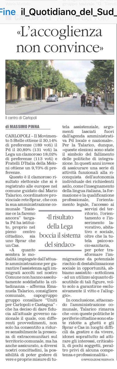 Ho scritto una piccola riflessione. Voto amaro per il Sindaco Talarico, a #Carlopoli - disfatta del Pd e della sua amministrazione comunale. I  paesi dell'#accoglienza bocciano le politiche attuate finora.
