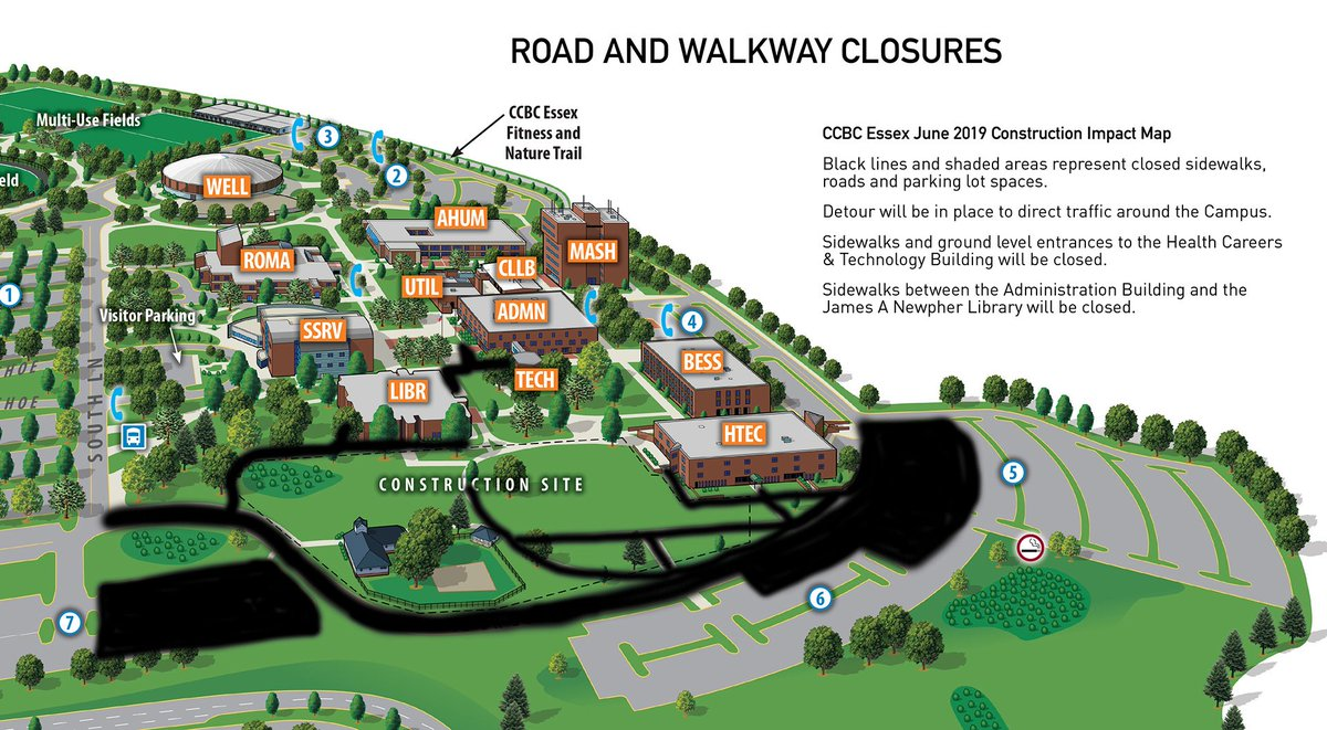 ccbc essex campus map Ccbc On Twitter Effective Monday June 3 Building Construction At Ccbc Essex Will Impact Multiple Areas Of The Campus Visit Https T Co Hm1ul1obsq For Details Regarding Road And Walkway Closures And Detours Https T Co Ujwhkmfj0m Https T Co ccbc essex campus map