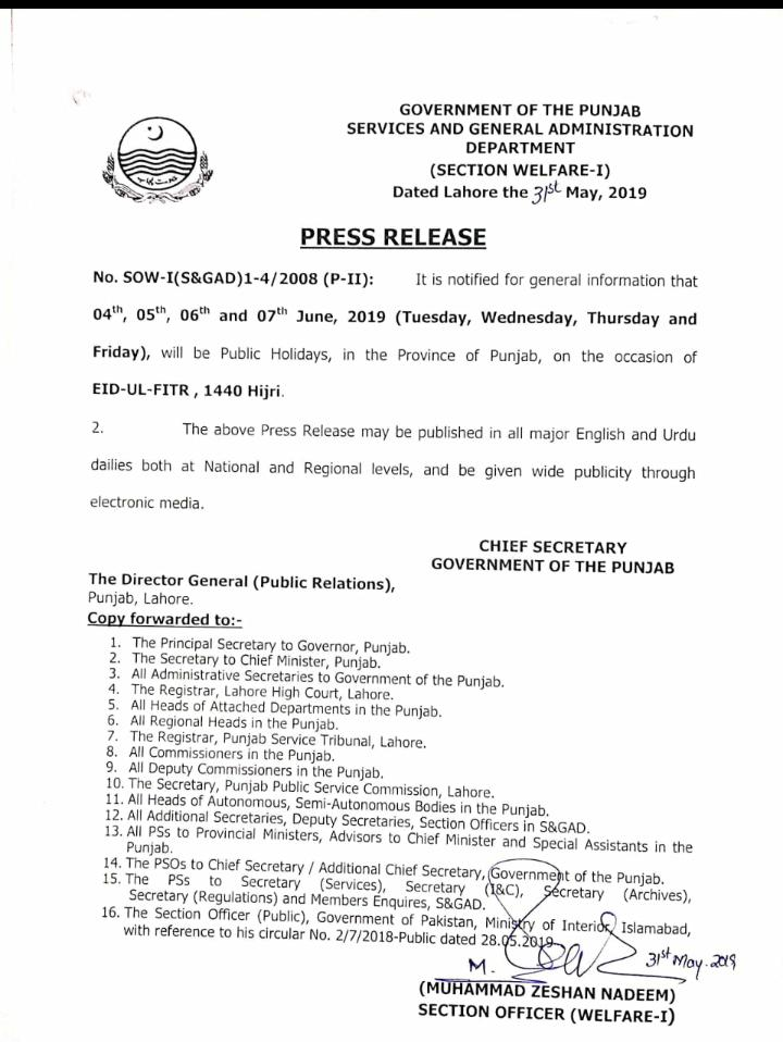 Punjab Govt Has Announced Eid Holidays From 4th June To 7th