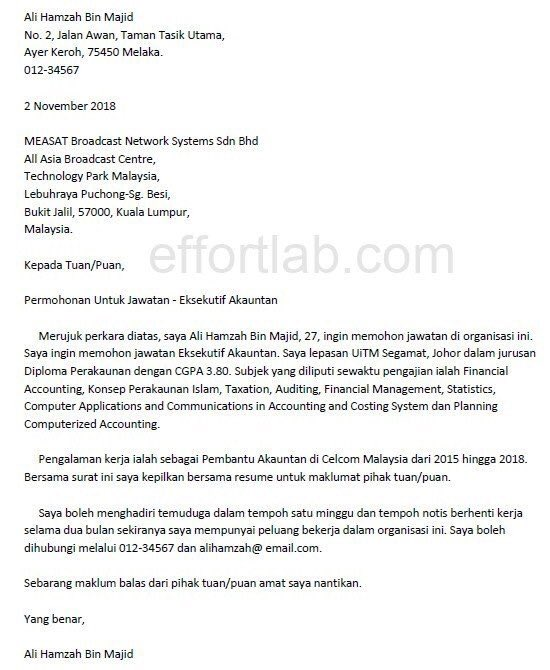on cover letter resume contoh