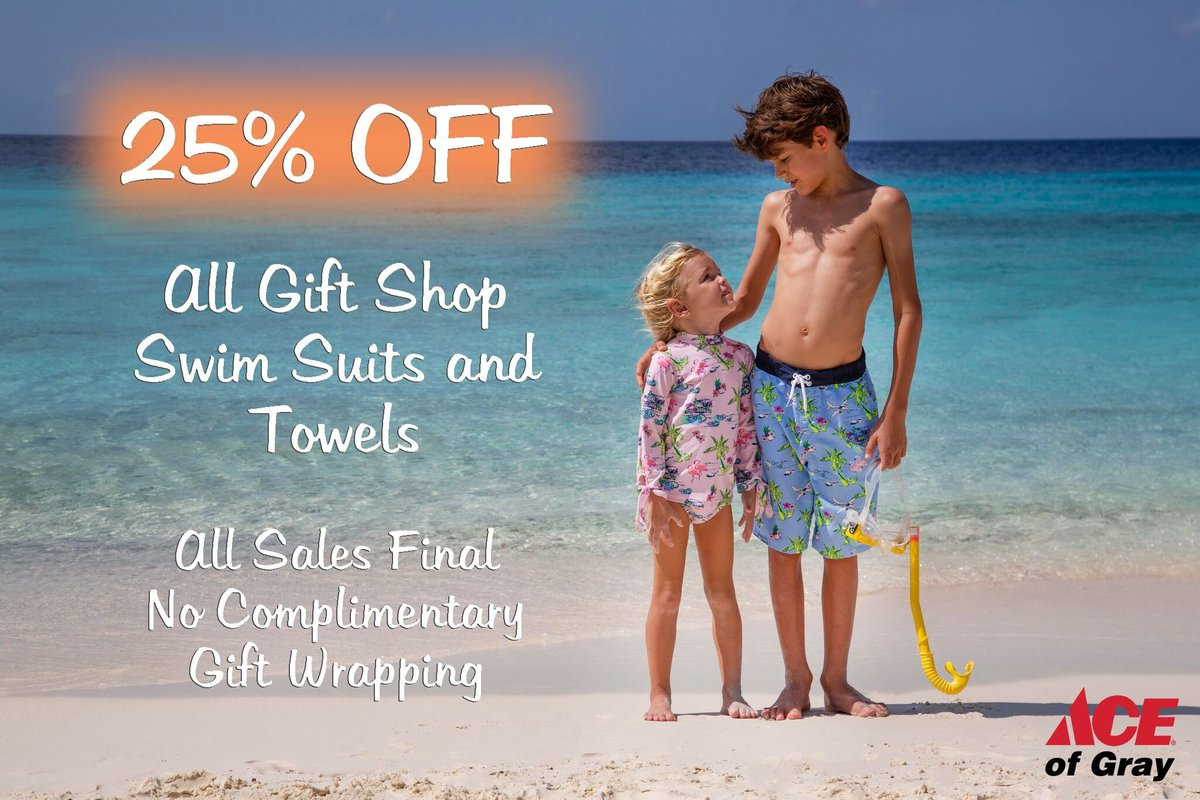25% Off All Gift Shop Swimsuits and Towels starting now! We have a bunch of Kid and Adult Suits plus matching Family Sets! Get yours today!  #ShopAceofGray #SaleSaleSale #AceStyles #GiftShop #ShadeCritter #BeaufortBonnetCo #Allsalesfinal #TheresNoStoreLikeIt