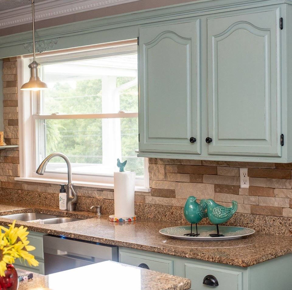 Pleasing Kitchen Cabinets Painted In Mudpaintx27S Seaside Download Free Architecture Designs Embacsunscenecom