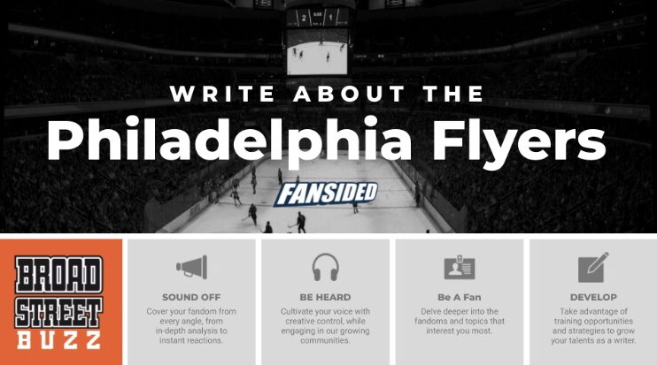 Calling ALL HOCKEY FANS!  Interested in writing about the #Flyers? We're currently looking to bolster our writing staff for the upcoming hockey season and we want YOUR help!  No requirements or experience needed to apply! Become a PAID CONTRIBUTOR!