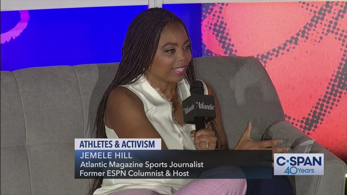 Currently airing on @cspan: Athletes & Activism hosted by @TheAtlantic. Panelists/moderators include @jemelehill, @damionthomas, @Chold1, @IbtihajMuhammad & others. #sports #activism