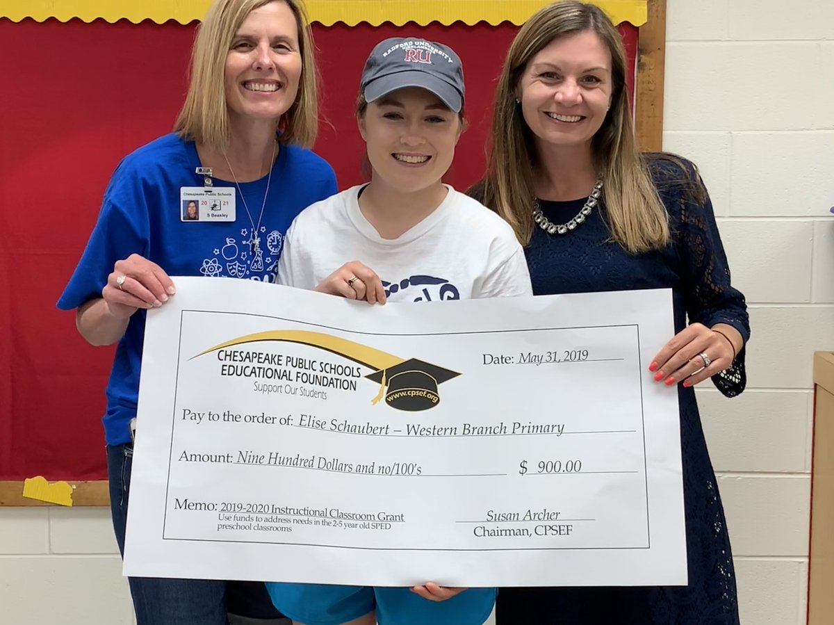 Congratulations to Elise Schaubert, teacher @WBPBruins, for being awarded a $900 grant. This grant will be used to purchase additional instructional materials for preschool special needs students.