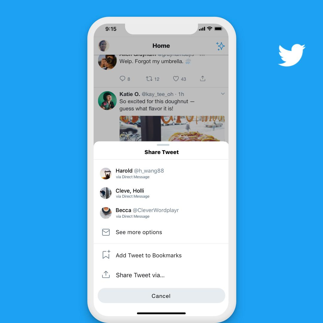 Are there people you always DM? We're testing a way to make it faster and easier for you to share Tweets with them. Tell us what you think if you're part of the experiment!