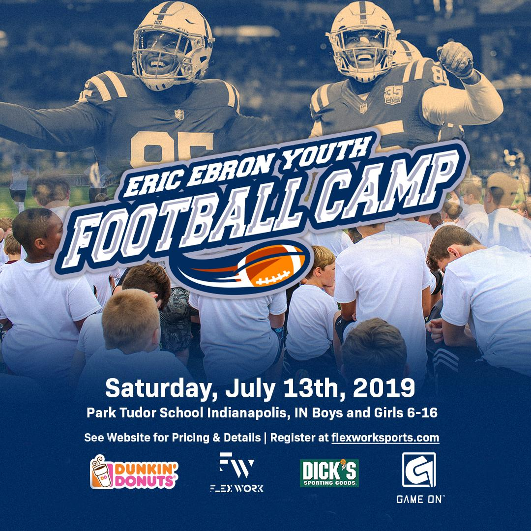 COLTS NATION! Excited to announce my first Youth Football Camp in INDY at @parktudor. Special thanks to camp sponsors @dunkindonuts @gomouthguards and @dicks (who will be giving out gift cards to each camper) -- See you there! Signup before spots fill up! flexworksports.com/camps/2019eric…