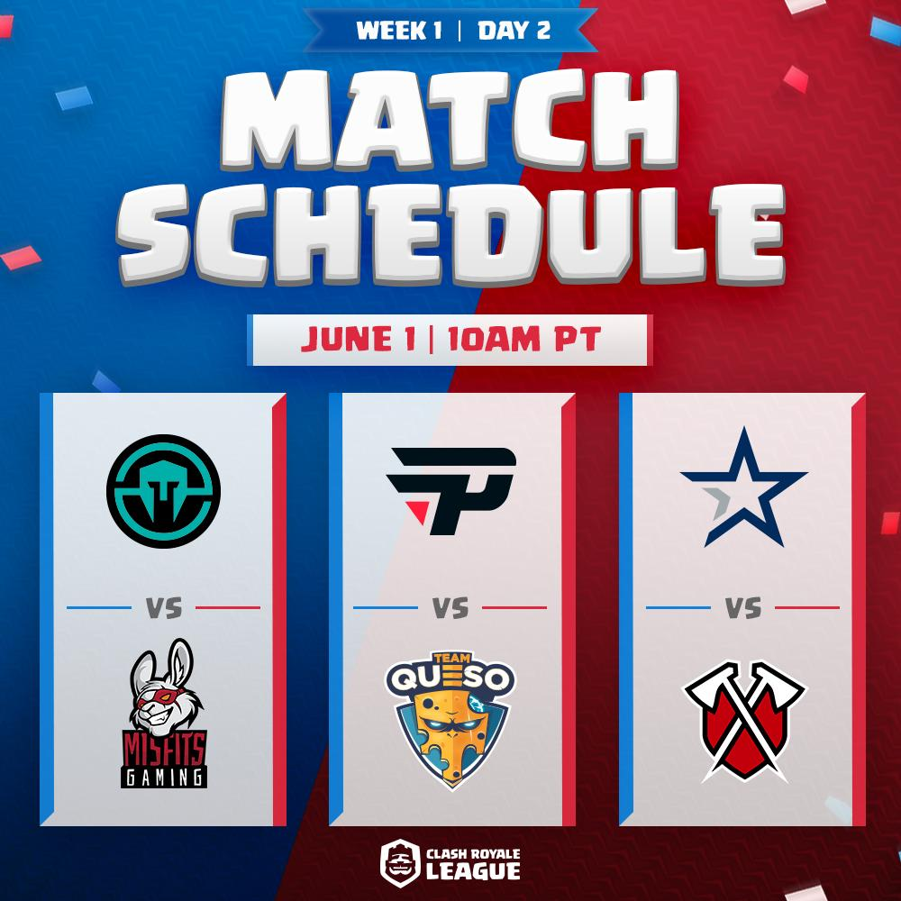Here are your match ups for Week 1 Day 2 & 3 of #CRLWest! 🔥  Which team are you rooting for?  #CRL #ClashRoyale #OGN https://t.co/339jSozhiM