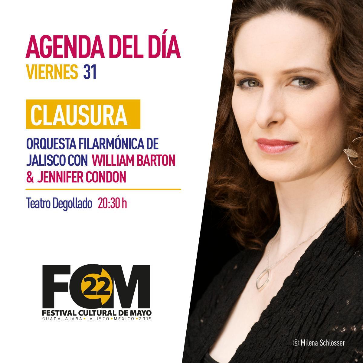 #AgendaDelDía: ¡Esta noche es la clausura del #FestivalDeMayo! Nos vemos en el Teatro Degollado. 😉
