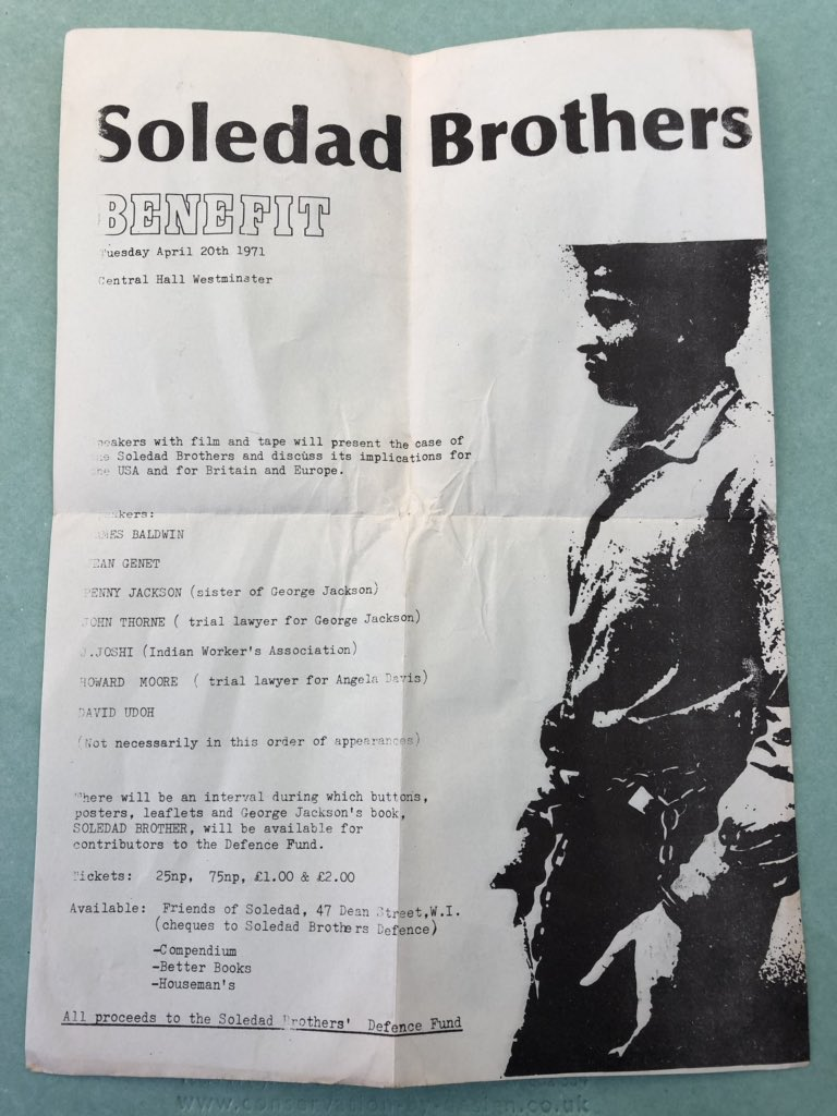 New in the archive: a flyer from when the most amazing line up ever did a benefit meeting in support of the Soledad Brothers in London 1971 #JamesBaldwin #JeanGenet #GeorgeJackson #SoledadBrother