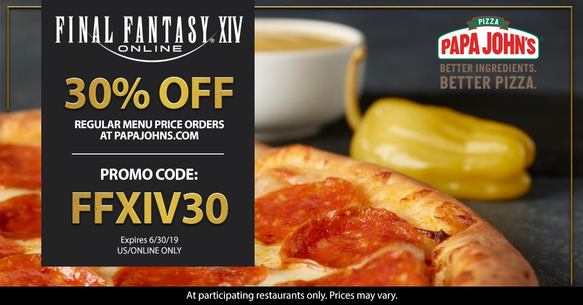 Final Fantasy Xiv On Twitter Us Papa John S Pizza Has
