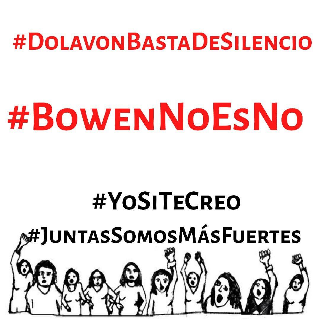 Cuando #TocanAUnaNosTocanATodas, acompañamos la denuncia de @_pamecm por abuso y acoso sexual, contra el Intendente de #Dolavon, @dantebowen. Repudiamos la violencia machista, y el silencio cómplice de quienes lo encubren.
