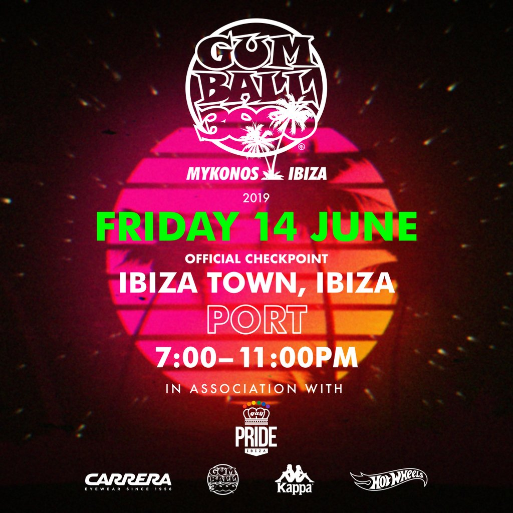 Gumball 3000 Finish Line 🏁🏁🏁 Ibiza Town, Port Friday 14th June car will be arriving from 7pm-11pm #MykonosvIbiza #Gumball3000 #GumballLife https://t.co/MTZSznltrp