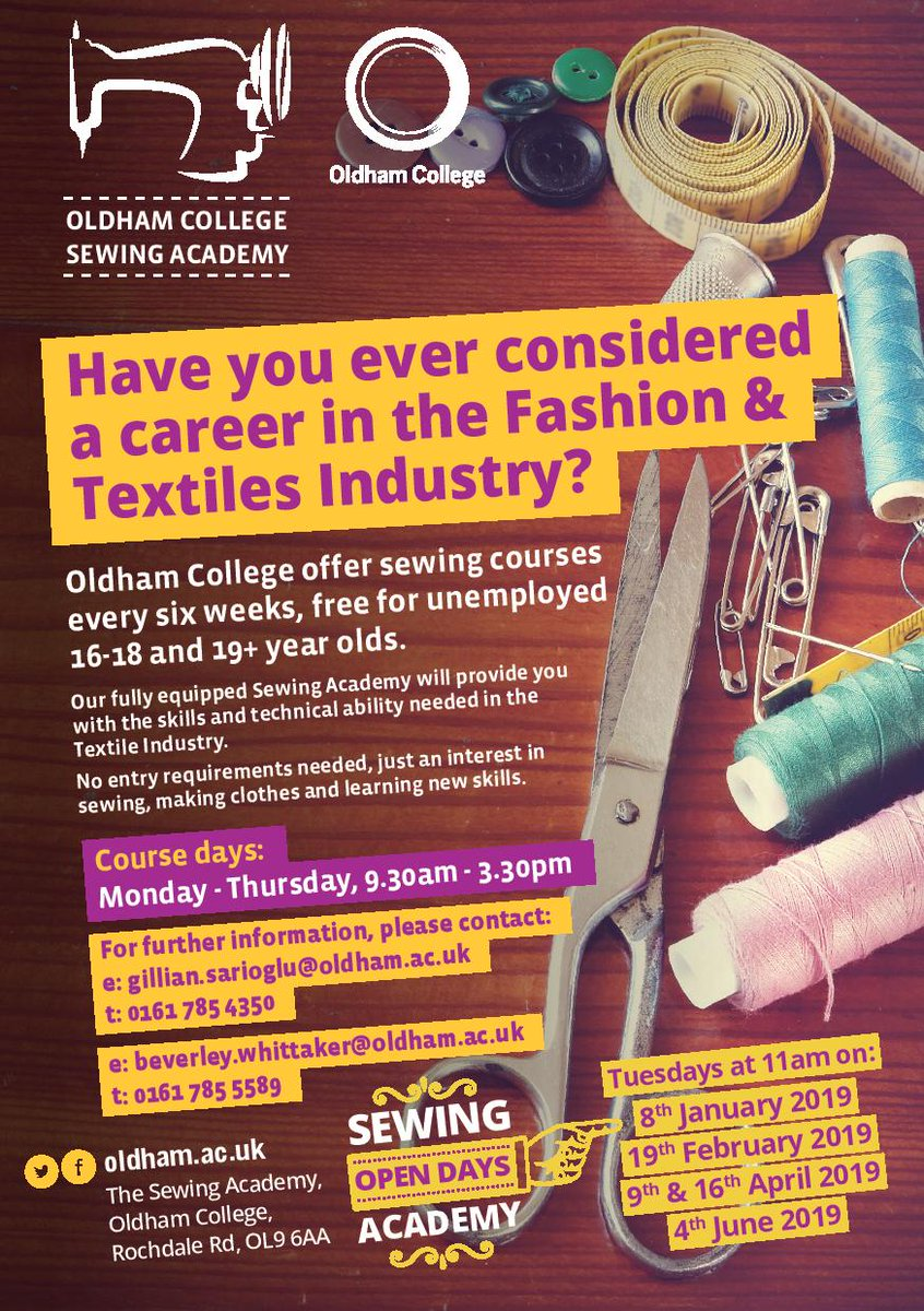 7a14f08cab Next Tuesday: The latest open day for the Oldham College Sewing Course is  next Tuesdsay (4th June). Make sure to go down and take advantage of this  ...