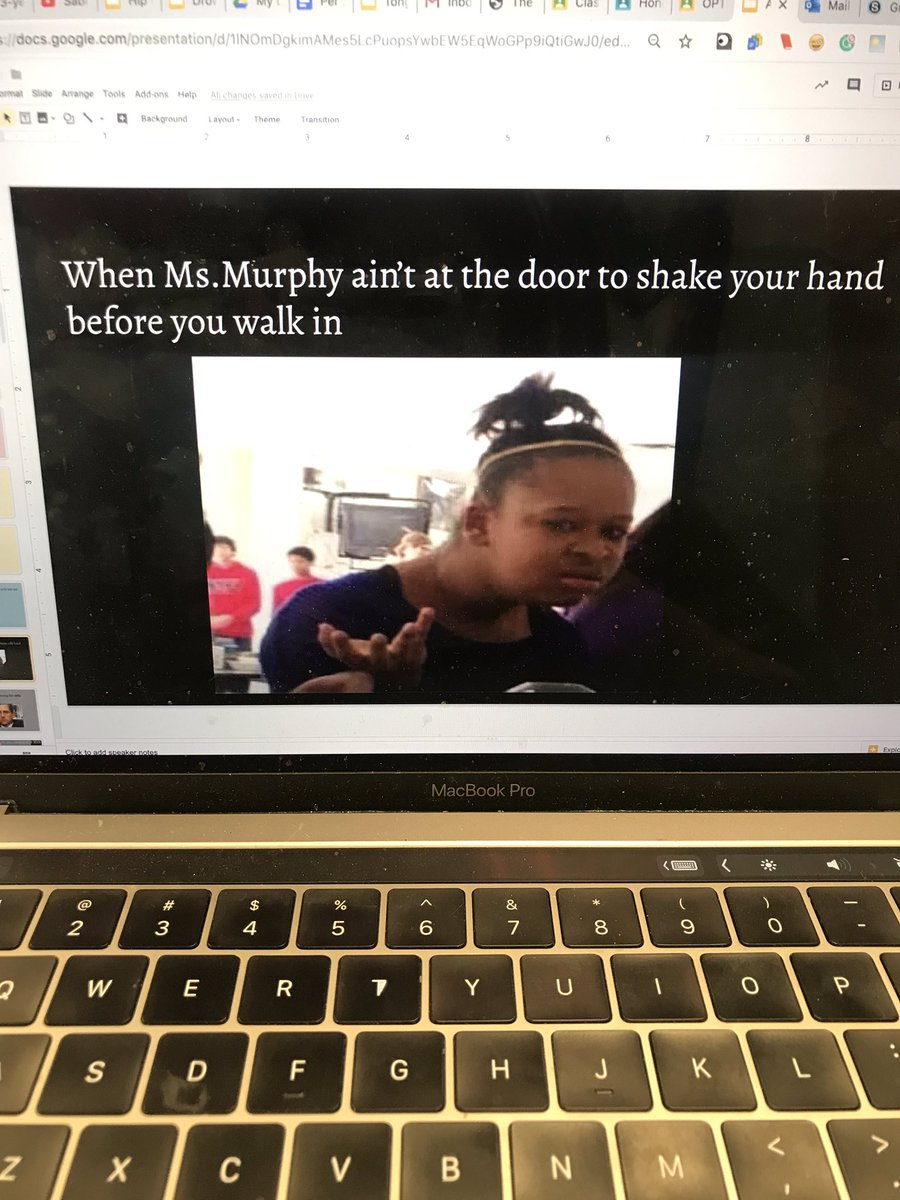 I give students the option to submit memes about the school year or our class and we look at them on the last day of class. They usually take this opportunity to roast me, which I don't mind 😂 They really outdid themselves this year 😭😂 so here's a thread of our memes!
