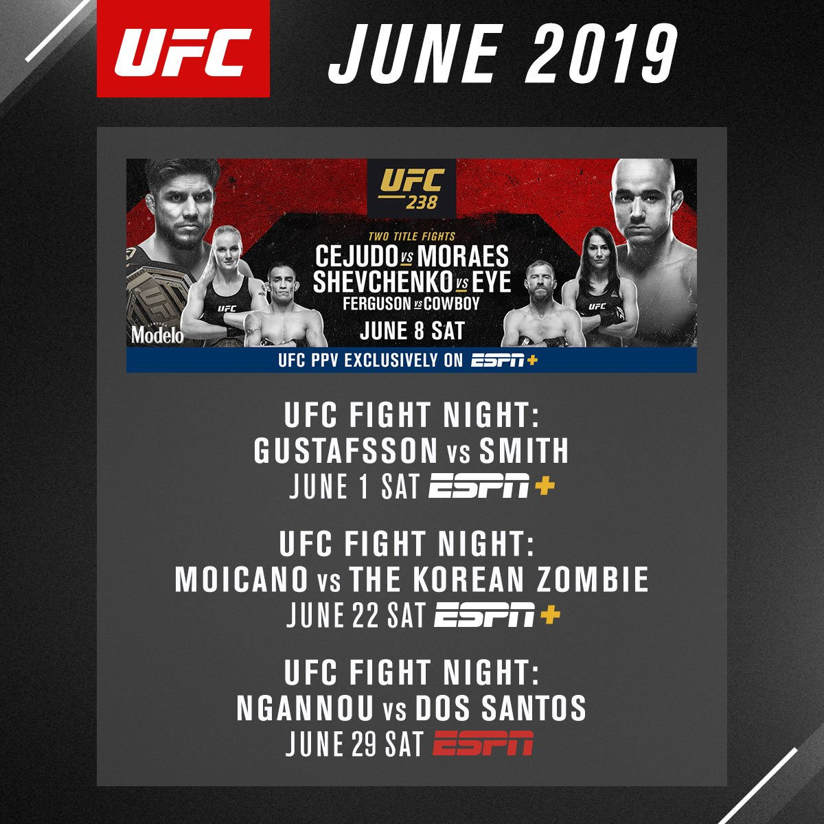 Here's what's coming up in June. Kicking off with this weekend at #UFCStockholm.   Mark your calendars ➡️ https://t.co/mTU0TiRn9x https://t.co/3P4HIxubXI #ufc #mma