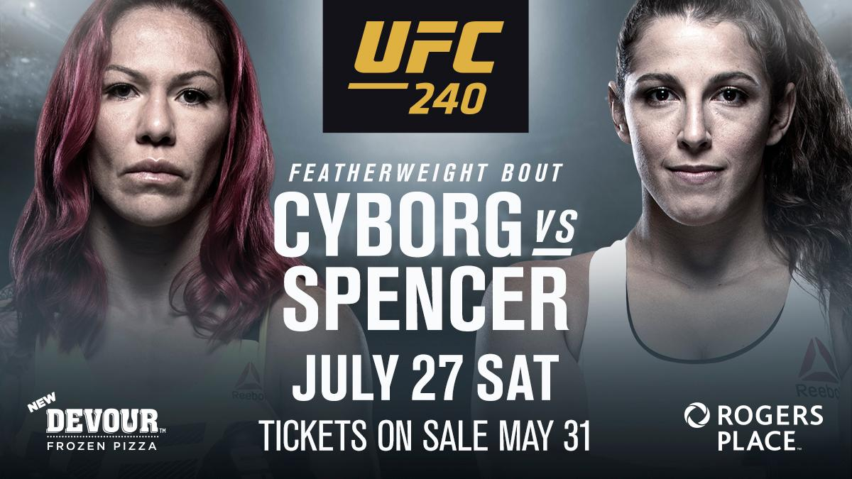 RT UFC_CA: CYBORG IS BACK!!  She'll face 🇨🇦Felicia Spencer in July!  🎟🎟➡️ https://t.co/93LIttYXs0 https://t.co/yZsgTmufS3 #ufc #mma