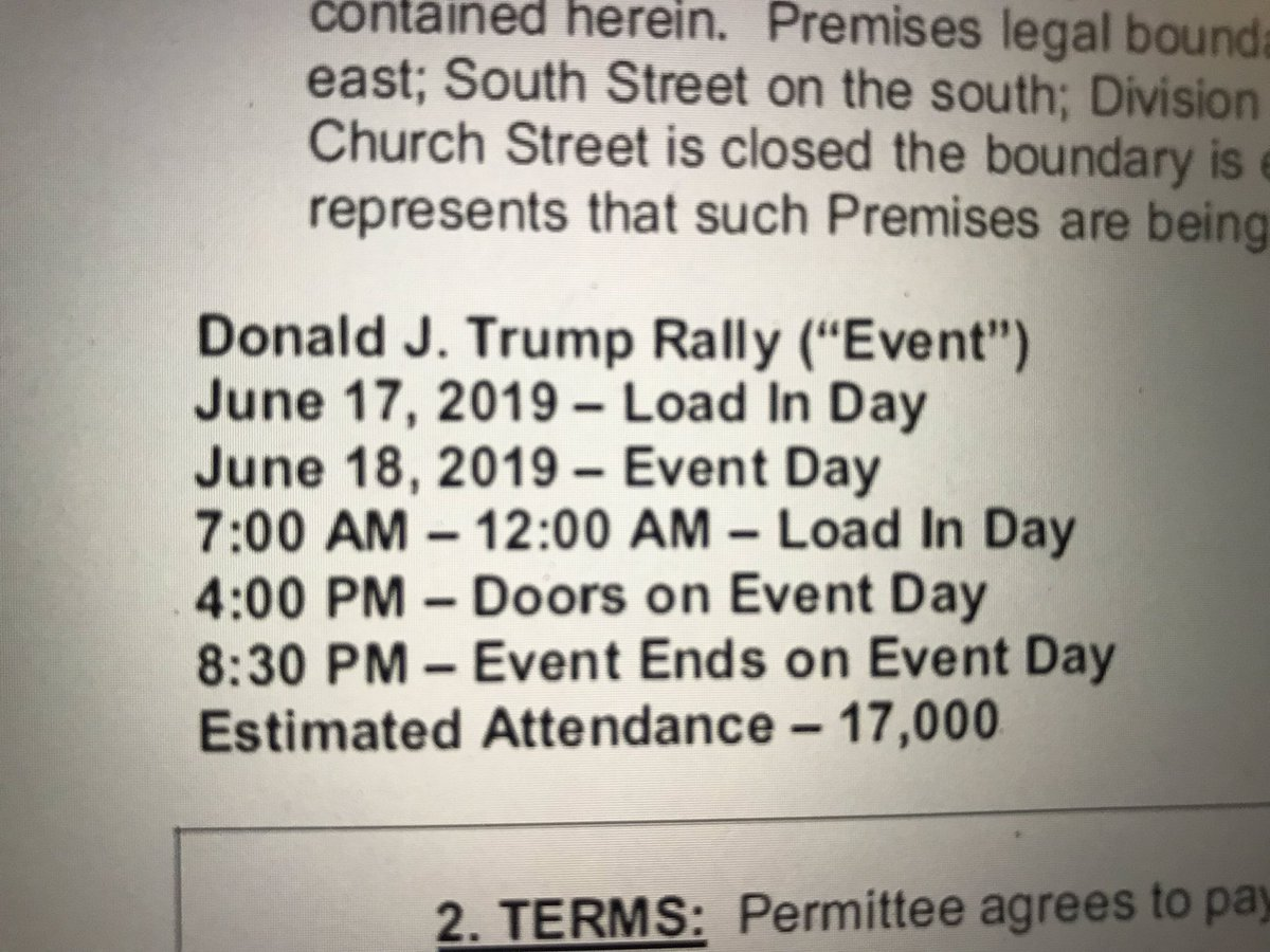 From the @citybeautiful government a portion of the signed contract with the @realDonaldTrump campaign to hold a rally June 18 at #AmwayCenter  Note the times: @WESH