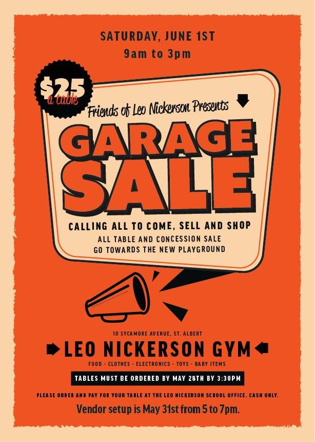 The 102.3 Now! Radio NOW! Trucksickle may also make an appearance sometime during the garage sale and we will have a concession with yummy snacks to munch on while you peruse the sales! Still want to get in on the action and set up a table? Email friendsofleonickerson@gmail.com